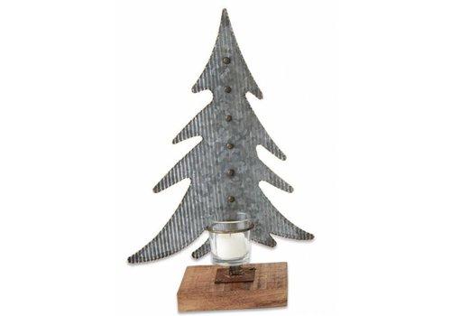 Large Tin Tree Votive Holder