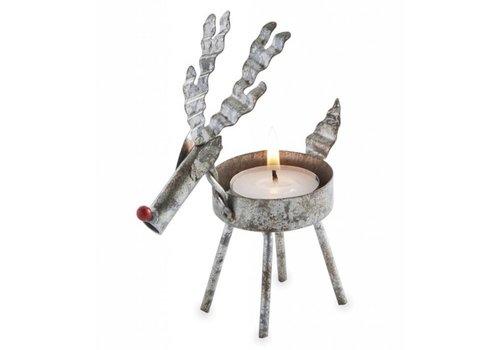 Tin Reindeer Tee Light Holder