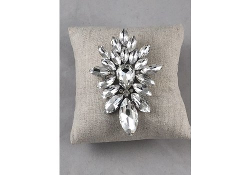Large Silver Crystal Brooch