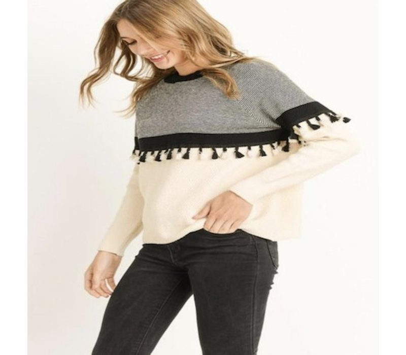 Cream Sweater with Tassel Detail