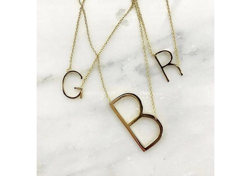 Initial Reaction Gold Vermeil Large Sideways Initial 16''