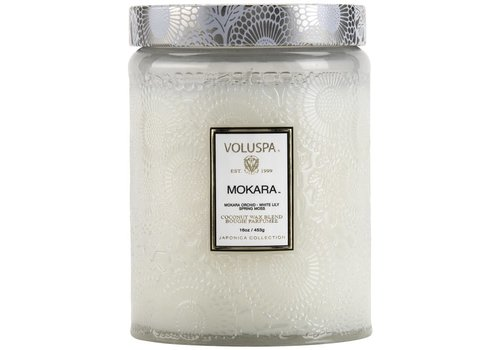 Mokara Large Embossed Glass Candle w/Lid