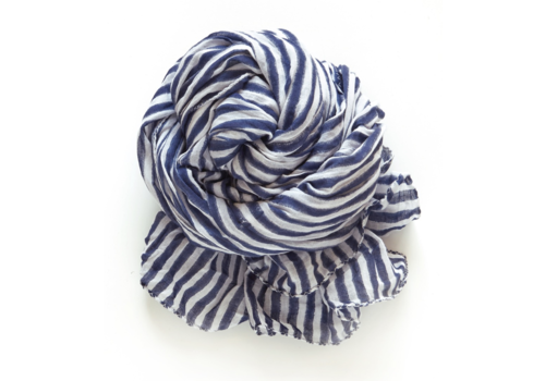 Halo and Swan Cote Sud Stripe-Navy White Scarf