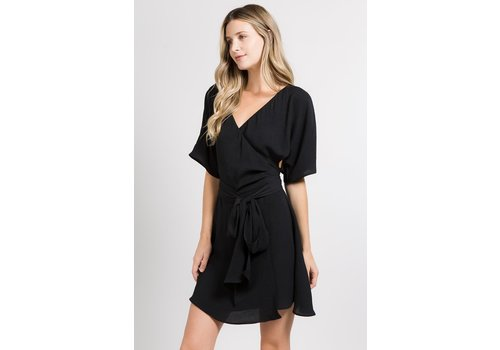 Fanco Black Short Sleeve Wrap Dress with Bow