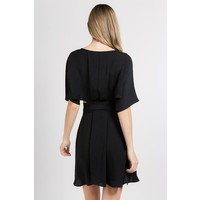 Black Short Sleeve Wrap Dress with Bow
