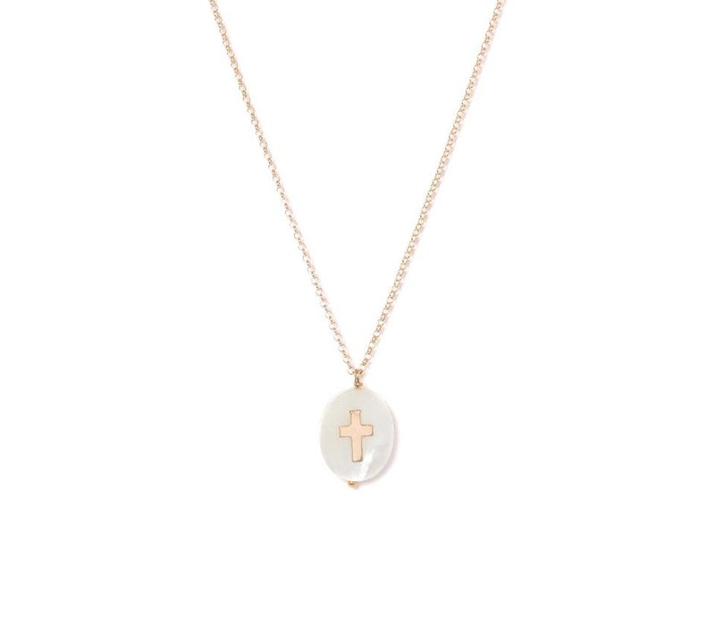 14K Gold Filled, Mother of Pearl Gran Cross Necklace