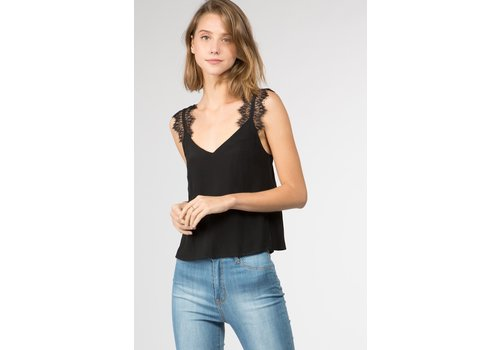 Fanco Black Tank Top with Lace Strap