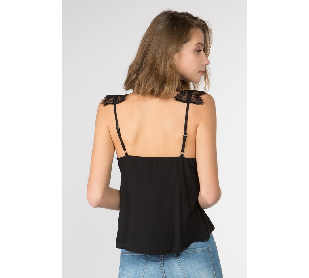 Black Tank Top with Lace Strap