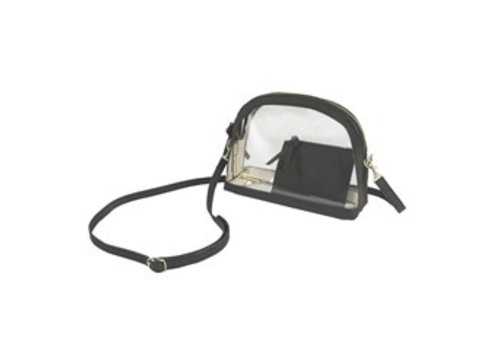 Capri Designs Half Moon Crossbody-Clear PVC with Black