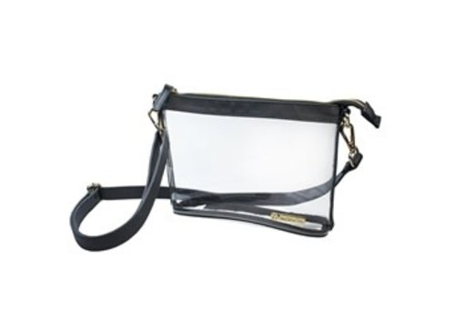 Capri Designs Small Crossbody- Clear PVC with Black and Gold