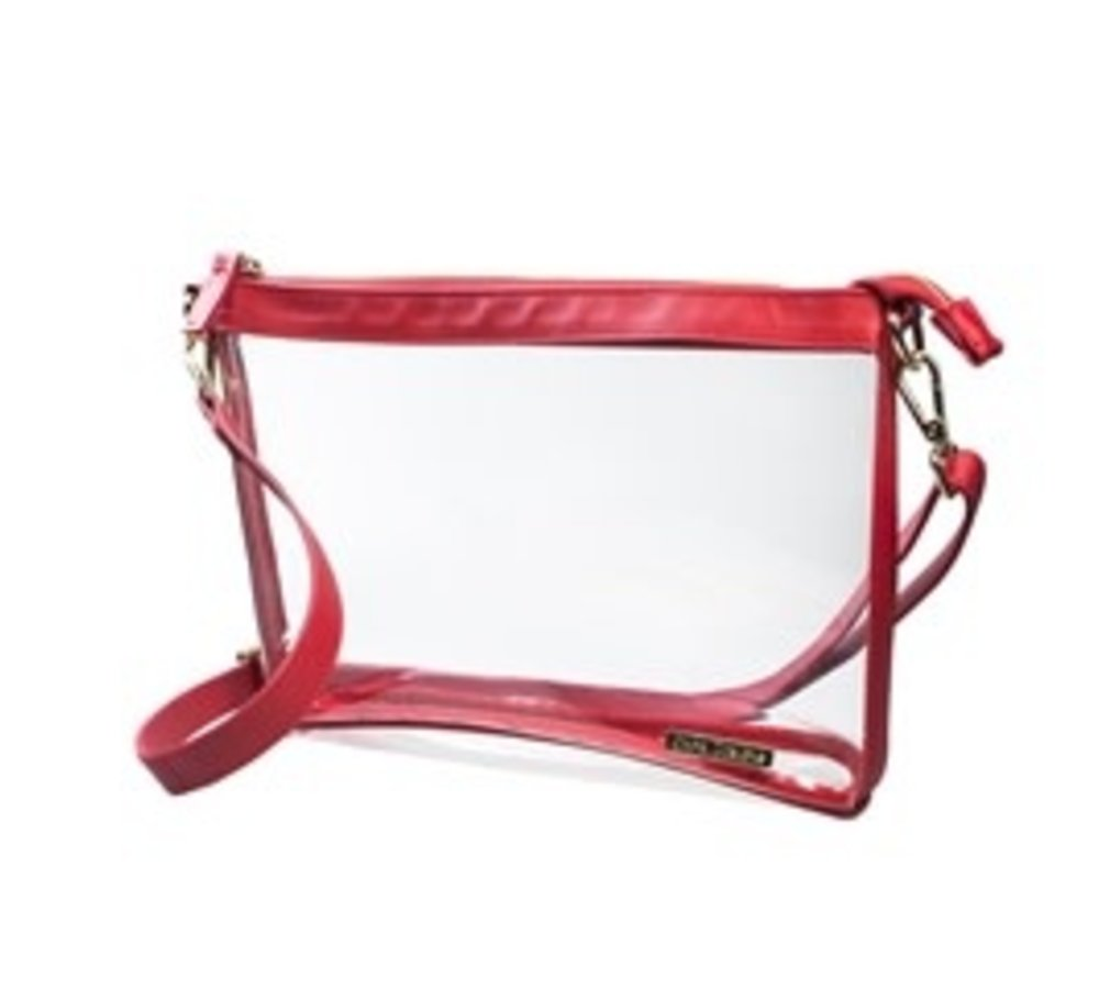 Large Crossbody- Clear with Red and Gold