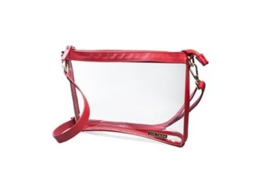 Capri Designs Large Crossbody- Clear with Red and Gold