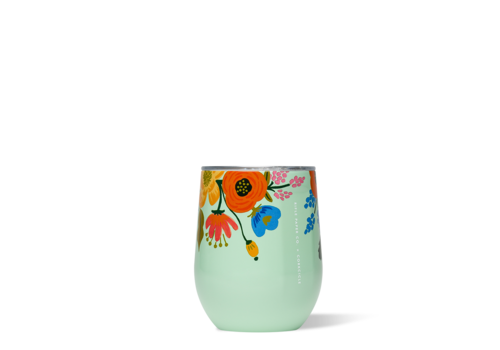 Corkcicle Rifle Paper Stemless-Lively Floral Mint