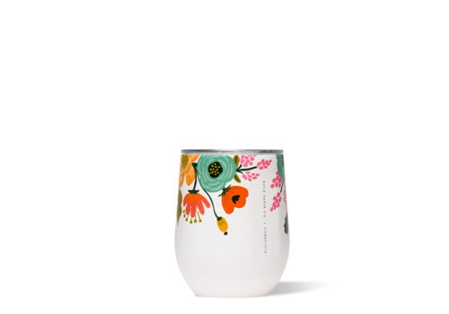 Corkcicle Rifle Paper Stemless-Lively Floral Cream