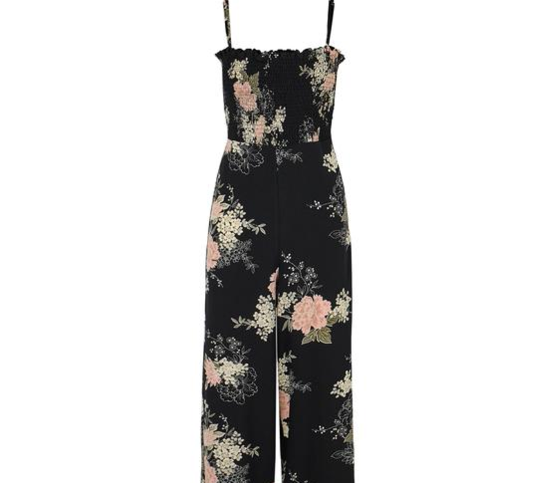 Black Florentina Jumpsuit with Flowers