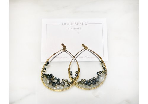 Gold Teardrop Earring with Blue/Grey Interior Beads