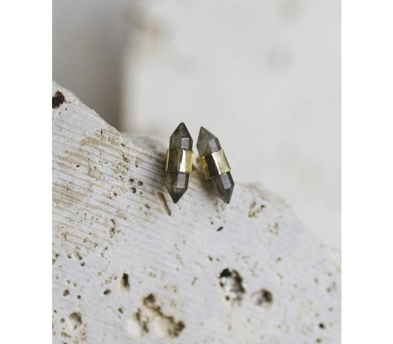 Jasper Stud Earrings-Labradorite
