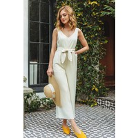 Cream Cropped Jumpsuit with Tie