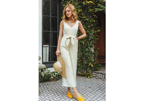 MOD REF Cream Cropped Jumpsuit with Tie