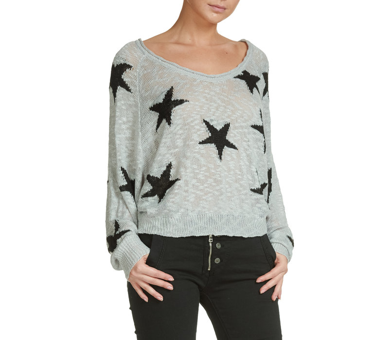 Grey Distressed Sweater with Black Stars
