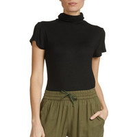 Short Sleeve Black Turtleneck Top