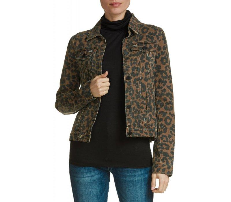 Brown Leopard Denim Jacket
