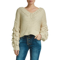 Cropped Oatmeal Sweater with Bubble Sleeves