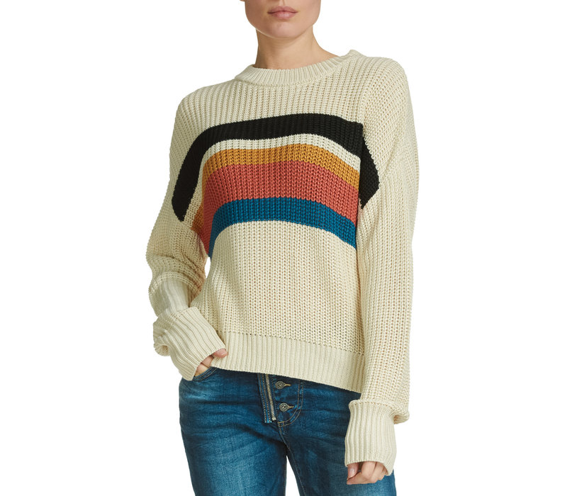 Natural with Multi Stripe Sweater