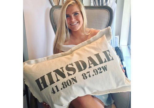 18 X 25 Natural Pillow Stencil HINSDALE 41.80N 87.92W  Stone