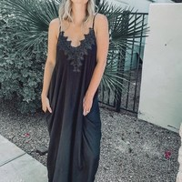 Black Maxi with Spaghetti Straps