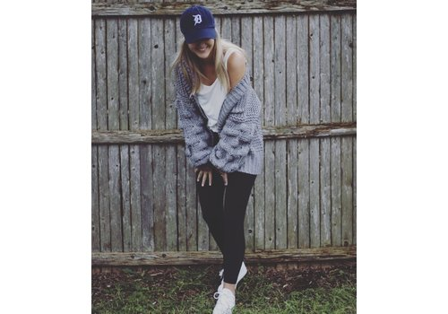 Grey Oversized Cardigan with Bubble Sleeves