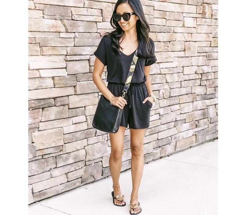 Black Mini Leather Purse Gold Camo Strap