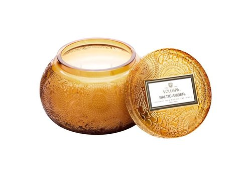 Voluspa Baltic Amber Embossed, Tinted Glass w/Lid
