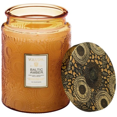 Baltic Amber Large Embossed Glass Candle w/Lid