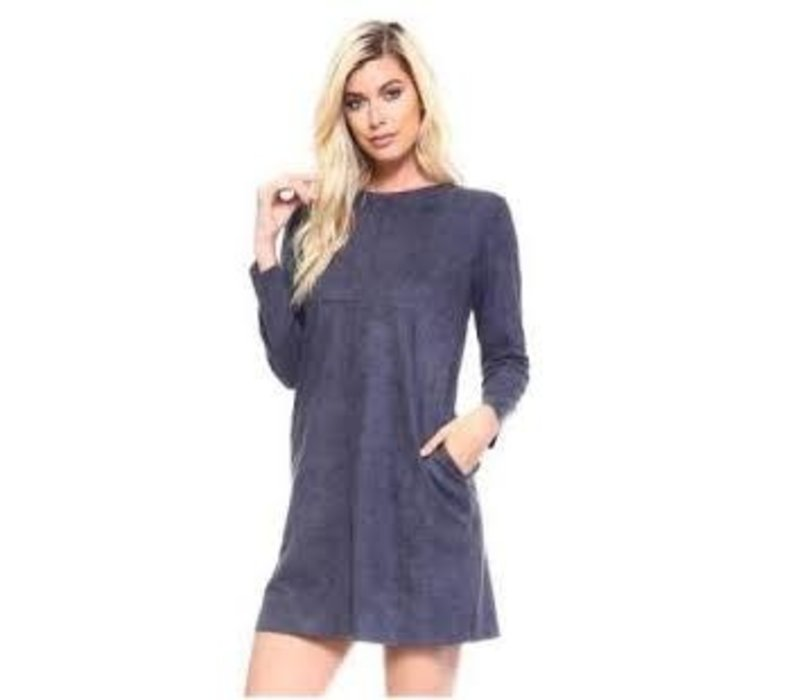 Suede Charcoal Tunic Dress