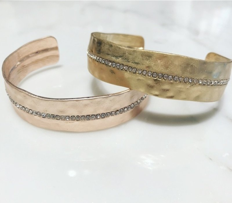 Matte Rose Gold Bangle W/Line of Crystals