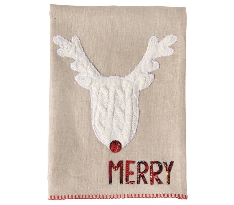 Reindeer Tartan Cable Knit Christmas Towels