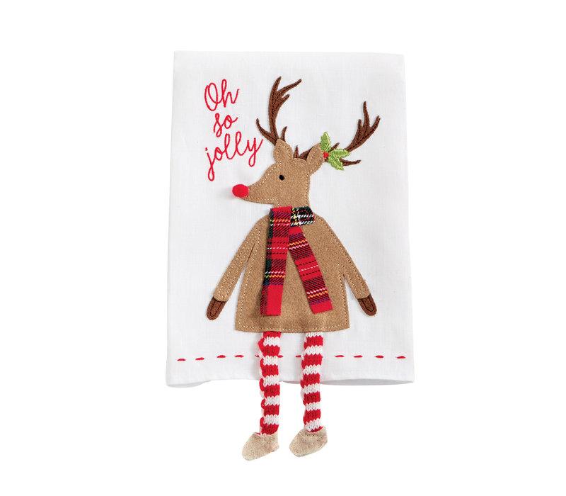 Reindeer Tartan Dangle Leg Towel