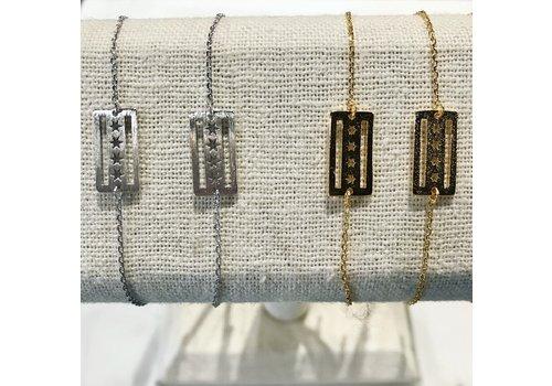 Ace Fashion Trading Silver Chicago Flag Bracelet