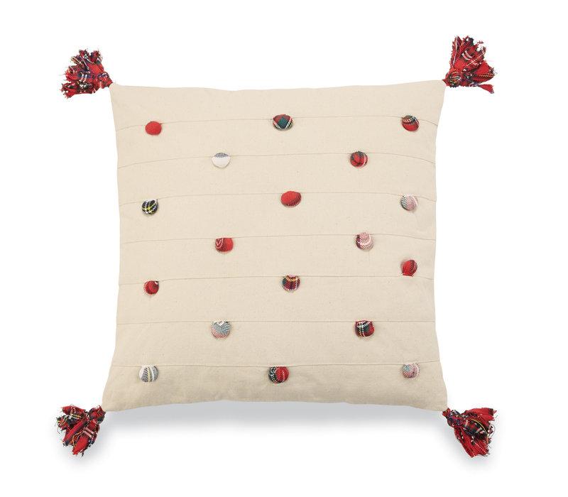 Square Tartan Pom Pom Pillow