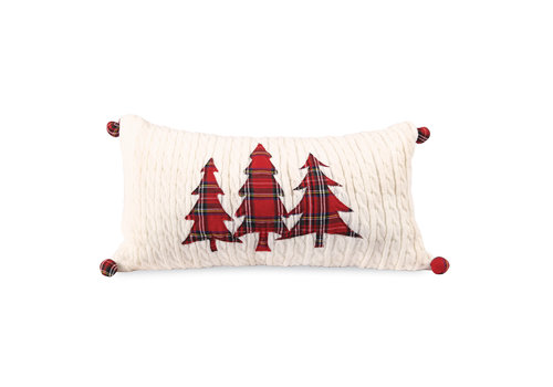 Tree Cable Knit Tartan Pillow