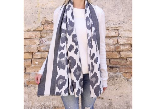 Caroline Hill Designs Soft Leopard Oblong Scarf Gray