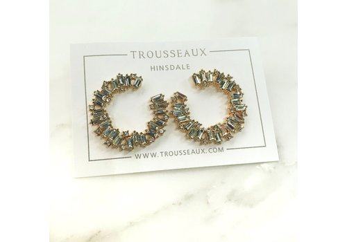 Large Gold Jagged Crystal Studs