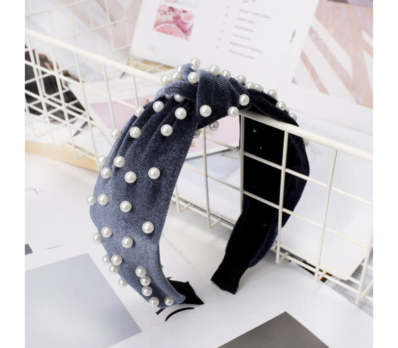 Silver/Blue Velvet Headband with Pearls