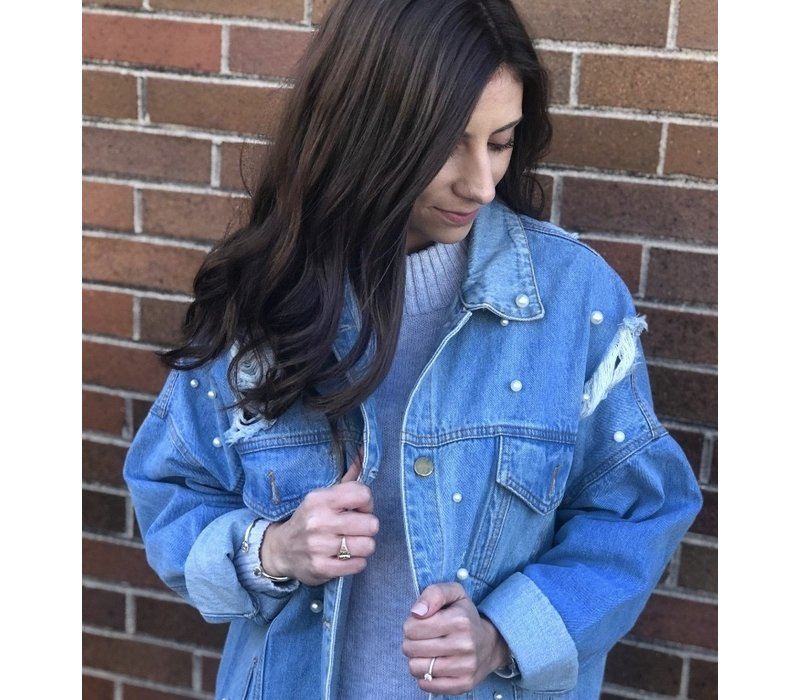 Oversized Denim Jacket with Pearl