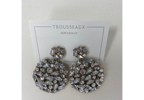 Large Crystal Drop Circle Earrings