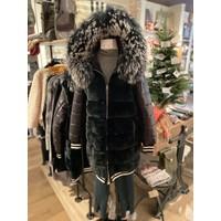 Black & White Rex Rabbit Fur/Down Jacket