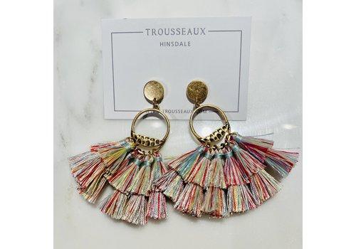Multi-Color Tassel Fringe Earrings
