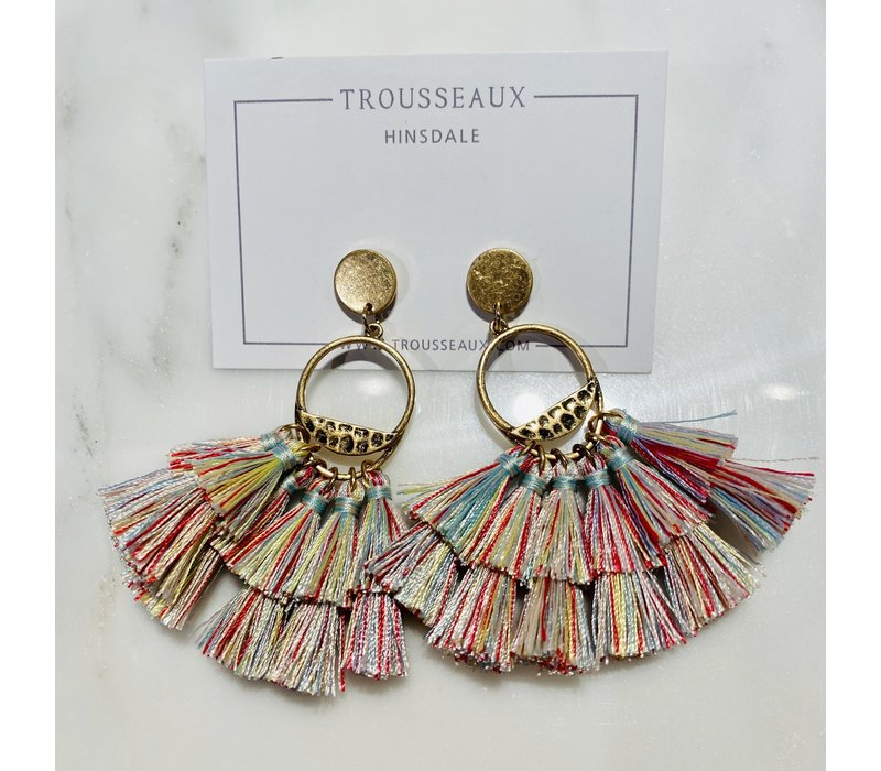 Multi-Color Tassel Fringe Earrings