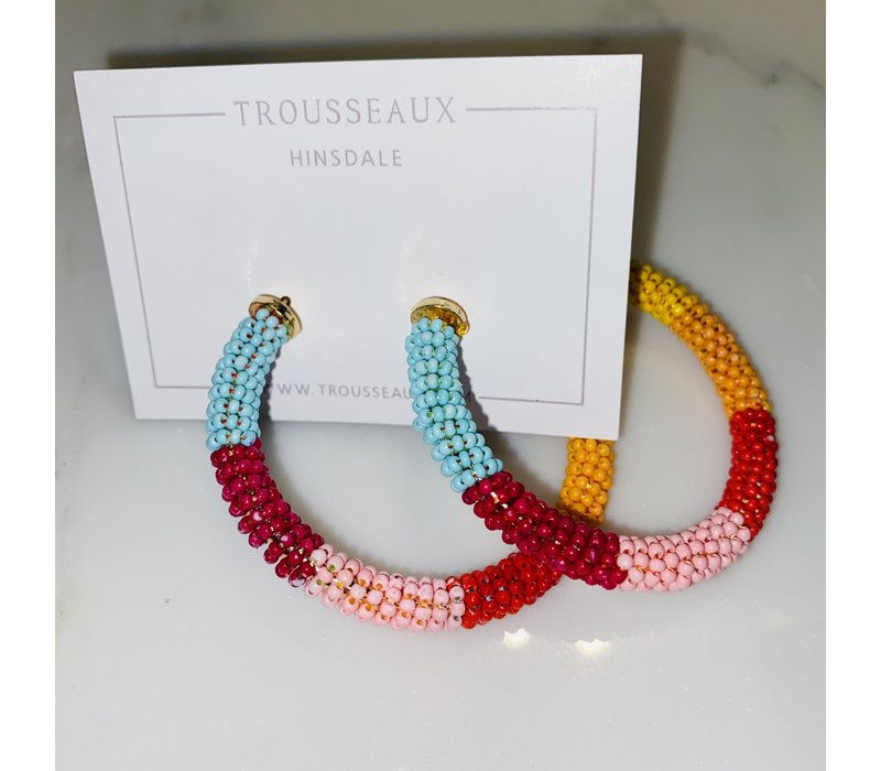 Large Multi-Color Beaded Open Hoops